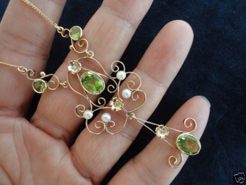 Art-Nouveau-14K-Peridot-diamonds-Pearl-Pendant-Necklace