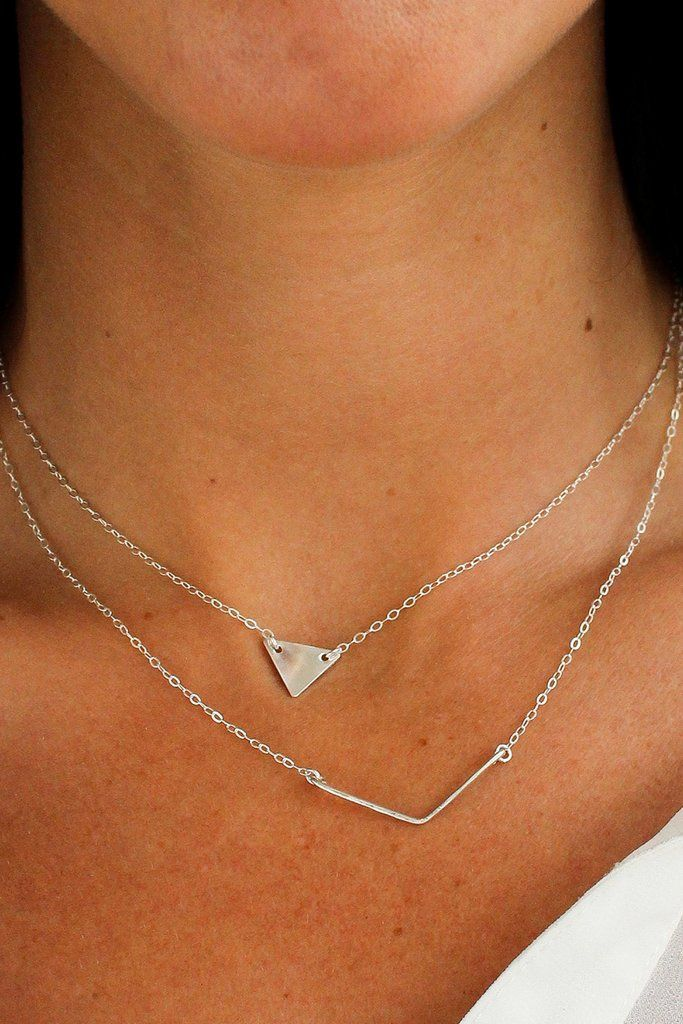 Hammered Chevron Necklace - Christine Elizabeth Jewelry #accessory #affordable-sterling-silver-necklace #bar-necklace