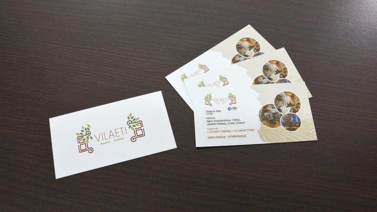 Επαγγελματικές κάρτες για το Vilaeti  Μετά την άκρως επιτυχημένη εταιρική ταυτότητα και ιστοσελίδα του Vilaeti, στον Άγιο Κωνσταντίνο, στο οροπέδιο Λασιθίου, σχεδιάσαμε και τις επαγγελματικές κάρτες.  https://www.imonline.gr/gr/grafistika/epaggelmatikes-kartes-gia-to-vilaeti-1184