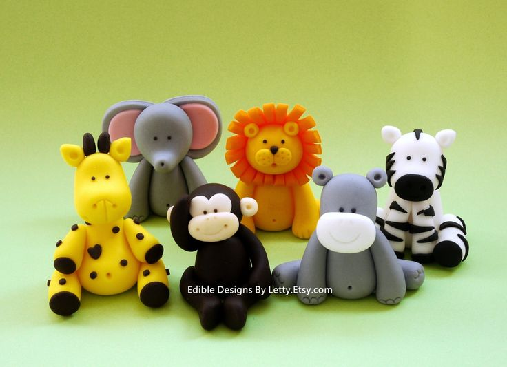 6 Edible Fondant Jungle Safari Animals by EdibleDesignsByLetty, $48.00