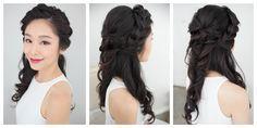 peachy pretty makeup and crown braid by | veronica #kellyzhang #kellyzhangstudio #pasadena #makeup #hair #coral #peach #curls #braids #crown #crownbraid #vintage #natural #bride #bridal #bridesmaid