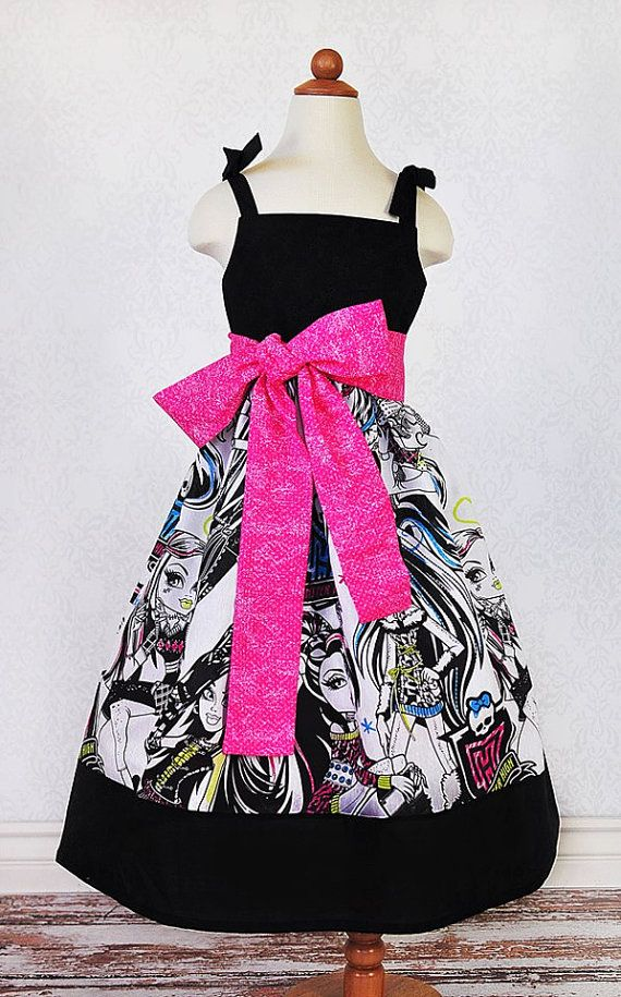 Custom Monster High Dress with Sash Sizes 910 by PPandLL on Etsy, $45.00