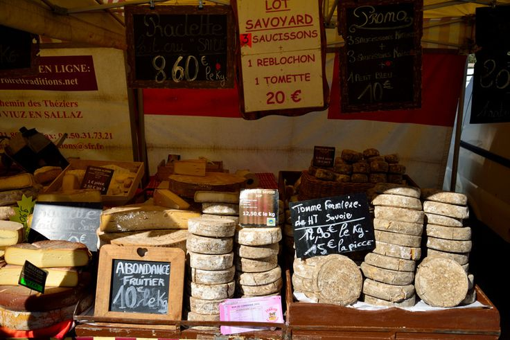 French alpine cheeses at the Chatel food market, French Alps