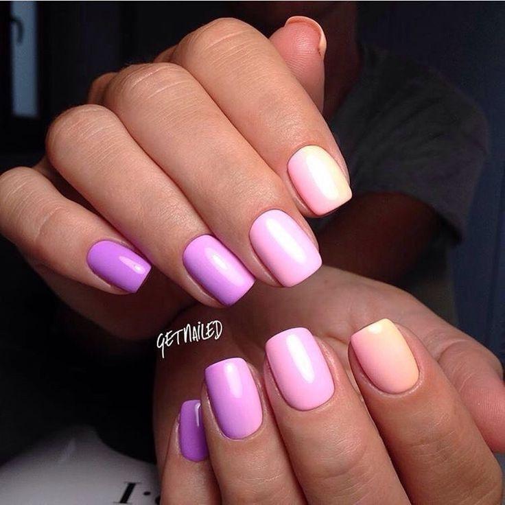 Beautiful gradient nails, Color transition nails, Colorful nails 2017, Fashion…