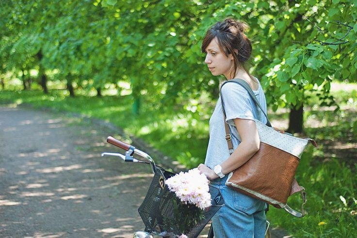 """Купить Рюкзак """"Let's bike"""" в горошек - хаки, рюкзак, РЮКЗАКИ, рюкзачок, рюкзачки, женские рюкзаки"""