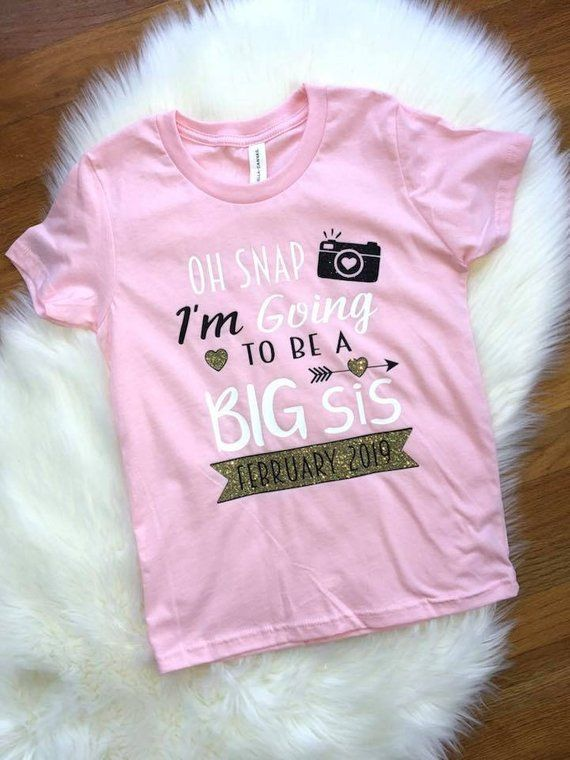 dfa2cdcab03d5 Big sis shirt, Oh snap big sister, New baby coming, Due date shirt,  Pregnancy announcement | kids clothing | Big sis, New baby products, Baby  coming