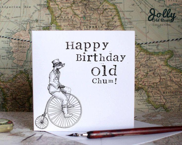 Funny Birthday Card, For Him, Hipster Birthday Card, Cotswolds Birthday, Old Man Birthday Card, Dad Birthday Card, Old Chum, Badger Artwork by BEEcardsUK on Etsy