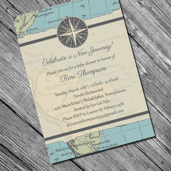 New Journey Invitation  Travel Themed Shower or by kreativees, $12.00