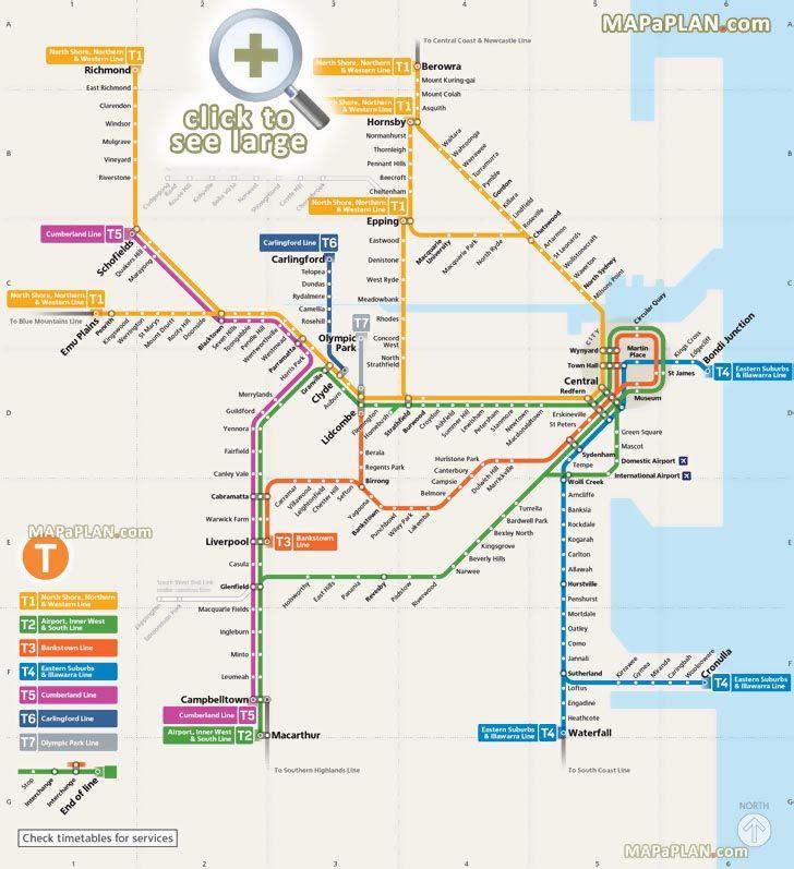 official public transport rail network diagram stations train lines t1 t2 t3 t4 t5 t5 t6 t7 metro area Sydney top tourist attractions map