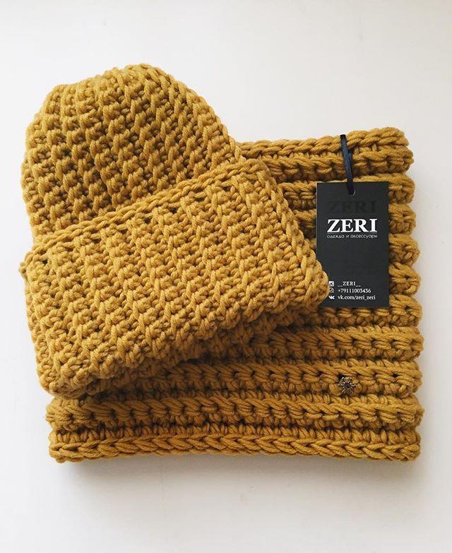 Комплект шапочка   снуд для малыша С мериносовой �...