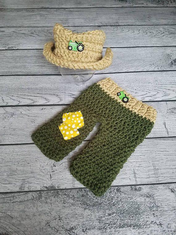 Farmer Outfit  Newborn Farmer Farmer Crochet  Farm Prop