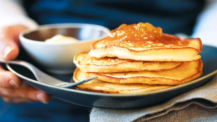 Ricotta pancakes with fig jam and cream - a recipe from Australian Food Legend - Margaret Fulton - via SBS Food