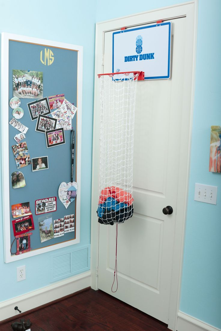 Finally, a laundry basketball hoop that looks good in a girls room! Would make a great gift for kids or teens alike! $34.99 at thedunkcollection.com