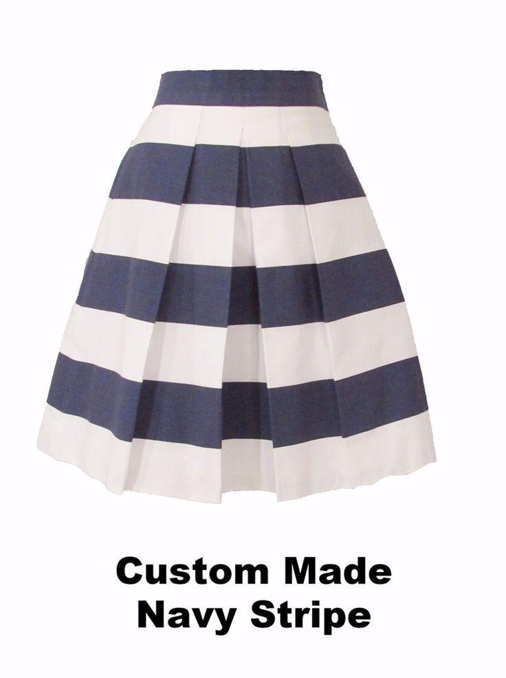 Navy and White Striped Katie Skirt Custom Made - Above Knee Length, Midi, Maxi
