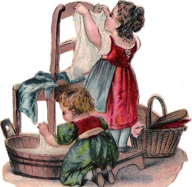 Oblaten Glanzbild scrap die cut chromo Kind child enfant  Wäsche washing