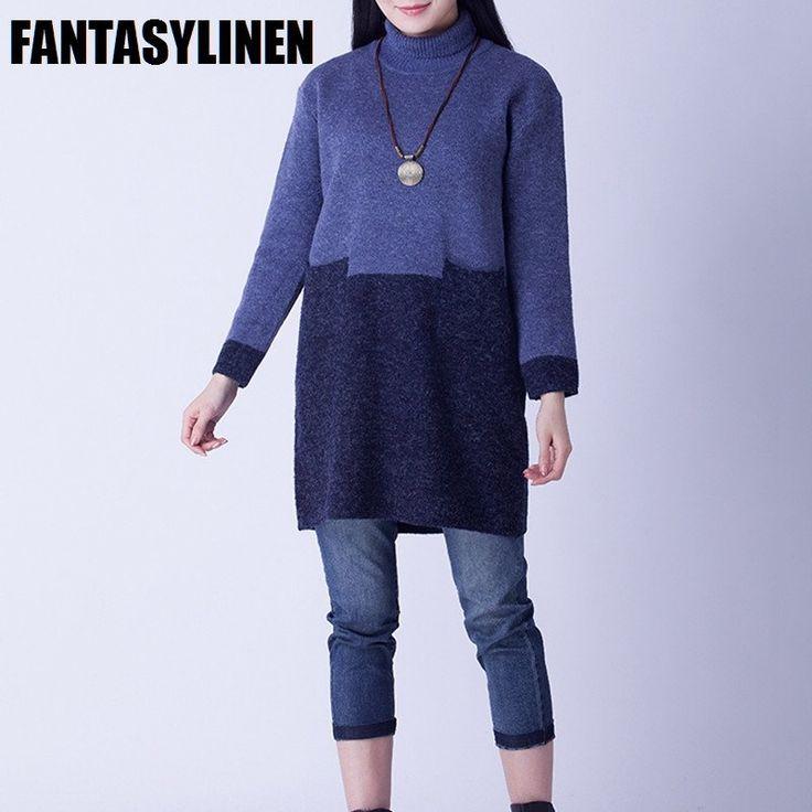 Wool High Collar Color Block Sweater Dress S1202A