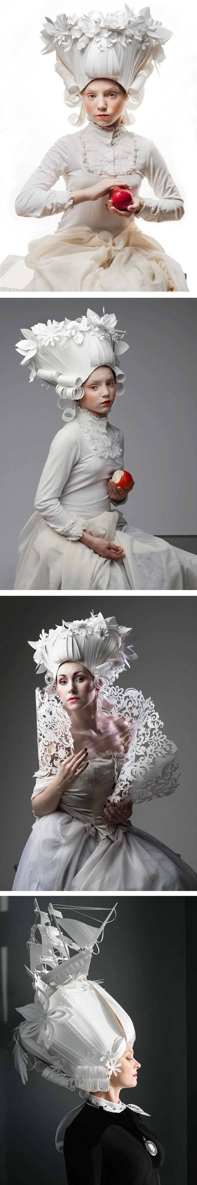 Historical wigs—especially those from the Baroque era—have always fascinated paper artist Asya Kozina. To celebrate them, she constructed some from paper.