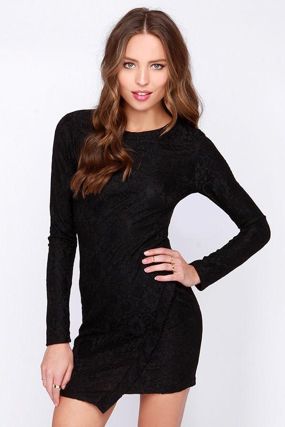 For Sienna Truly Fashion Forward Black Lace Dress at Lulus.com!