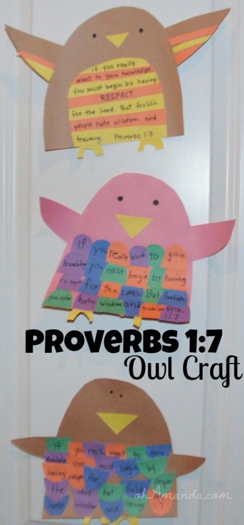 Memorize Proverbs 1:7 with this cute owl craft! // ohAmanda.com