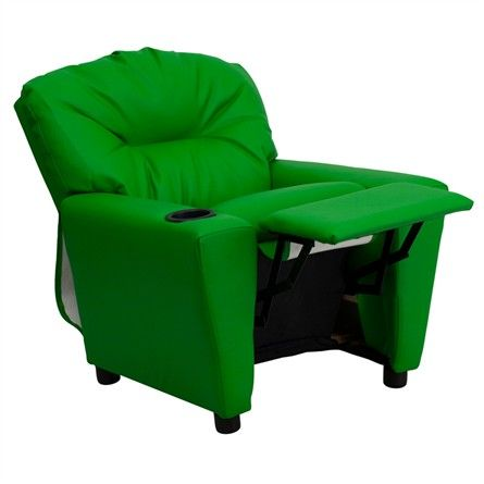 The Modern Kids' Green Vinyl Recliner with Cup Holder will become your child's favorite perch!