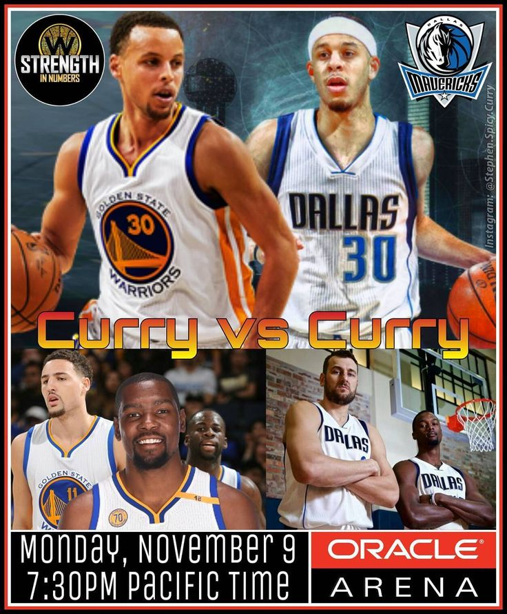 Battle Curry: Are you ready for Curry vs Curry at Roaracle?! It's the Warriors and Brother Steph vs Brother Seth and the Mavericks! Classic Dubs Andrew Bogut and Harrison Barnes roll into Oracle Arena as well for this super spicy Western Conference NBA showdown! Watch the game on CSN Bay Area at 7:30PM tonight! @klaythompson @stephencurry30 @money23green @warriors @oraclearena @dallasmavs @sdotcurry @andrewbogut @hbarnes @csnauthentic #KlayThompson #StephenCurry #KevinDurant #DraymondGreen…