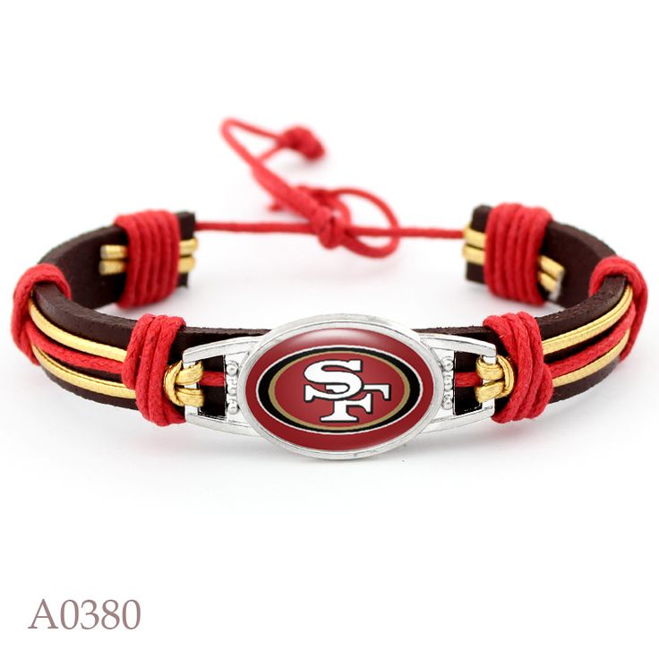 New Arrival San Francisco 49ers Football Team Real Leather Bracelet Adjustable Mens  Real Leather Bracelet For Men and Women  #Affiliate