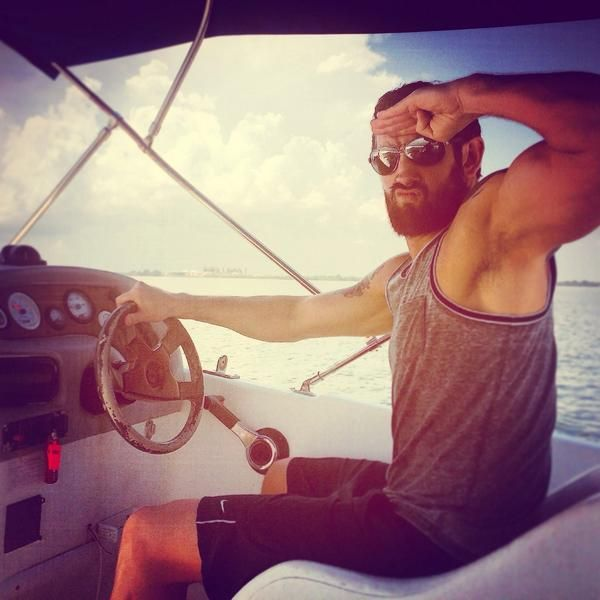 Wade Barrett driving a boat #WWE