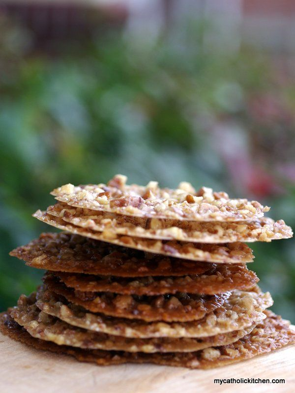 Pecan Lace cookies for the feast day of the patron Saint of Lace Makers. Saint Catherine of Alexandria.