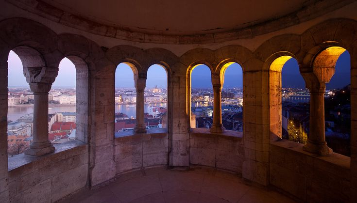 Budapest, Hungary.    Four images composited together showing the progression to night.