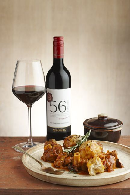 We can't wait to dig in to this dish...Lamb knuckles and dumplings with prunes, paired with Nederburg 56Hundred Cabernet Sauvignon