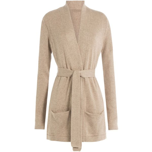 Closed Belted Cardigan (£185) ❤ liked on Polyvore featuring tops, cardigans, beige, belted cardigan, beige top, pocket cardigan, slim fit cardigan and belted top