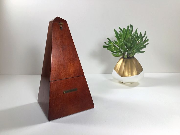 Vintage Wood Metronome, Seth Thomas Metronome, Musical Timer, Music Timer, Piano Timer, Solid Wood, Walnut, Gold Brass Trim, Piano Timer, by ChattCatVintage on Etsy