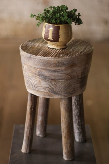 Whitewashed wooden stool