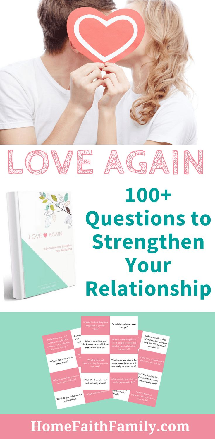 """Do you want to strengthen your marriage? Grab the Home Faith Family's """"Love Again: 100+ Questions to Strengthen Your Relationship"""" for FREE! You and your spouse will love the variety of questions as you open up to new intimate conversations and goals in a way you never thought possible. Grab your FREE copy, today. #marriage #marriagetips #christianmarriage #marriagegoals #conversationstarters #communication #love"""