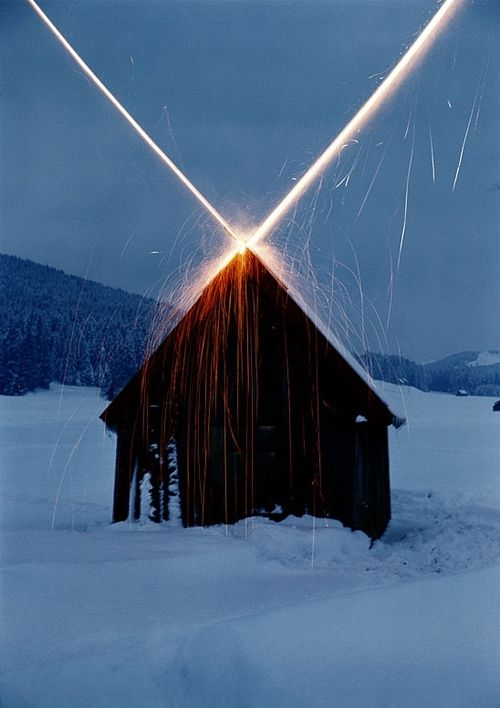 Roman Signer - House with Rockets, 1981