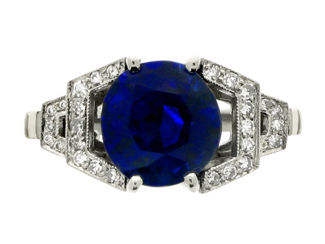 Kashmir sapphire and diamond ring, English, circa 1950.