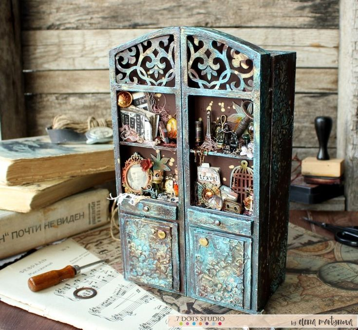 Altered cabinet with a secret mini-album inside by Elena Martynova featuring 7 Dots Studio Hazy Days  collection. For more information please visit our blog.