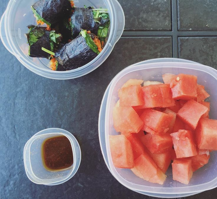 Here's what I packed for the boat this weekend... Nori wraps! I put carrots cilantro greens red onion and ginger inside. Dressing to dip made with evoo apple cider vinegar tamari and sea salt. And my favorite watermelon