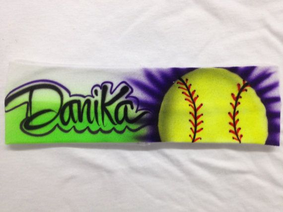 Customized Airbrush Softball Headband by OBEYYOUROBSESSION on Etsy