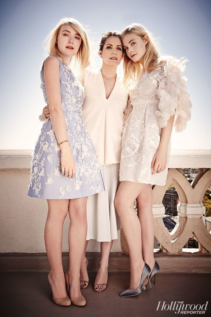 Dakota and Elle Fanning and their stylist Samantha McMillen for The Hollywood Reporter.