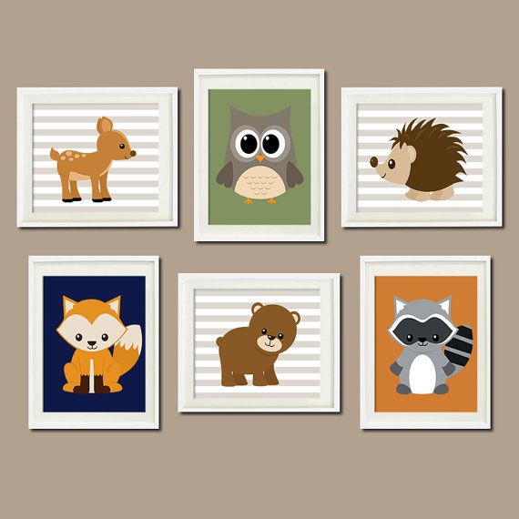 WOODLAND Nursery Art Animals Rustic Country Baby Boy Decor Raccoon Bear Owl Fox Deer WALL ART Set of 6 Prints Woodland Decor Bedding Picture...