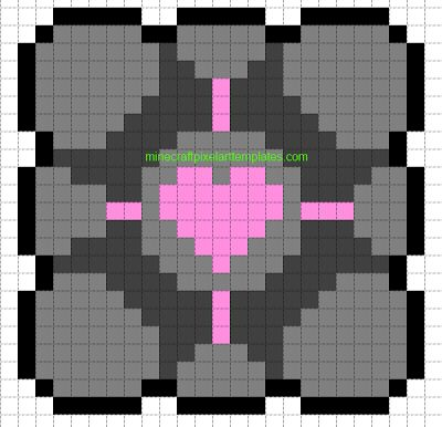 Beautiful Companion Cube | Minecraft Pixel Art Templates: Companion Cube