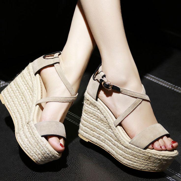 Bohemia Women's Espadrilles Wedge Platform School Prom Dating High Heel Shoes