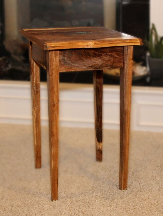 Small End Table with Drawer.  Live edges. Walnut. Handmade.