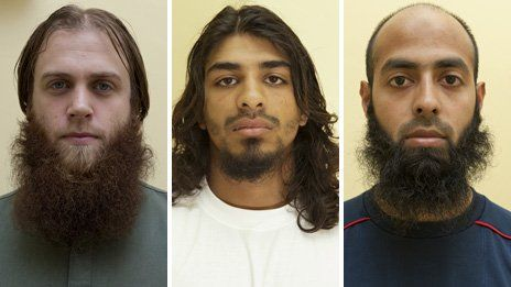 Three British men, including a former police community support officer and a recent convert to Islam, are jailed for preparing acts of terrorism.