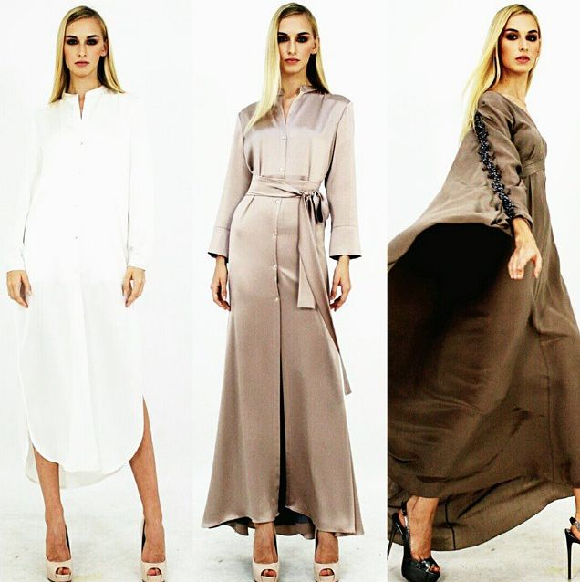(Look 1)  Crepe satin shirt dress with side slits.  (Look 2) Crepe satin mermaid-cut shirt dress.  (Look 3) Crepe silk caftan with embellishments.  #aliabastamam #raya2015 #lookbook