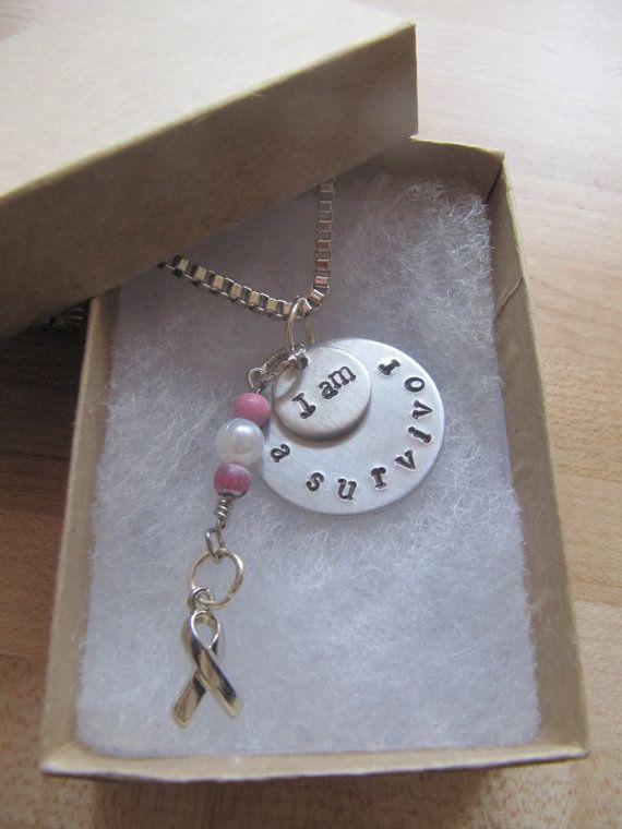 breast cancer survivor necklace// hand stamped by InTheQuiet
