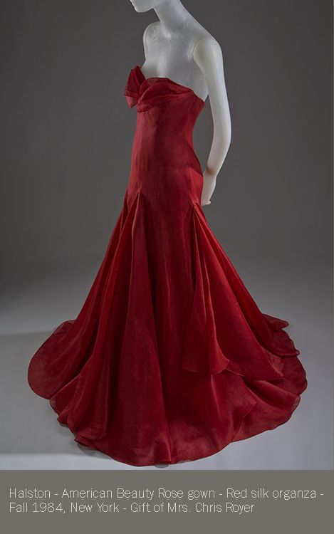 Halston american beauty rose gown red silk organza for Fashion museum new york