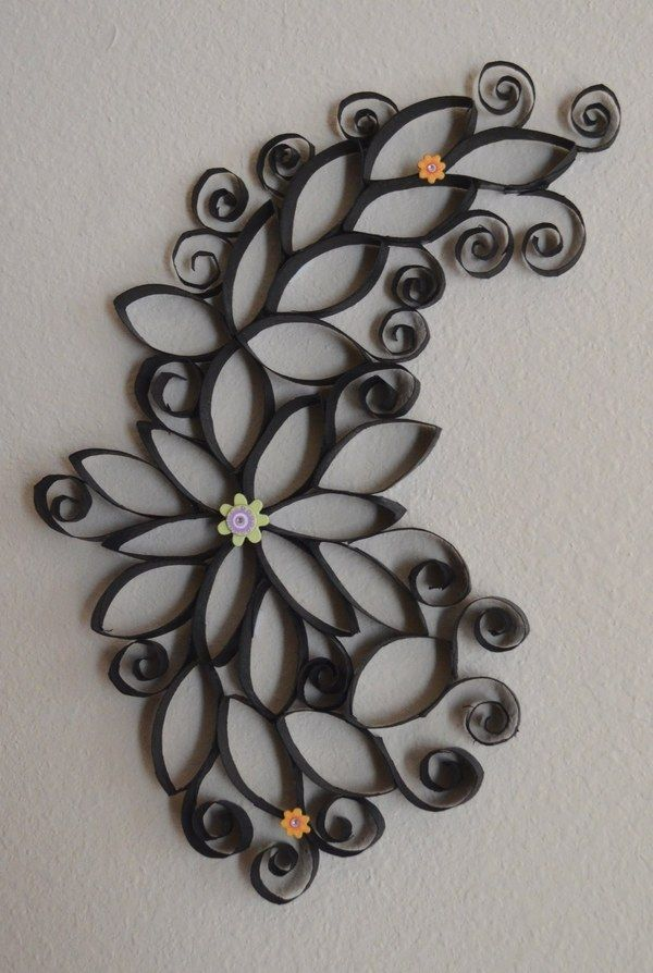 DIY wall decor ideas paper rolls wall decorations floral pattern