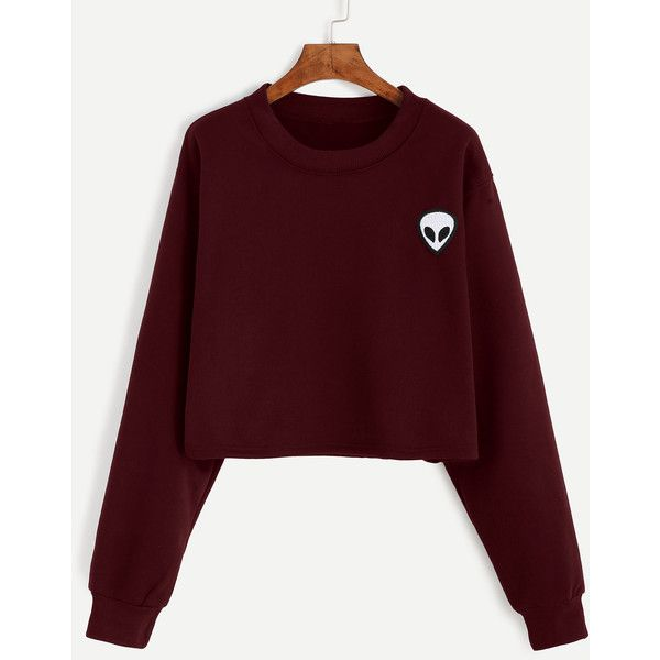 SheIn(sheinside) Alien Embroidered Patch Crop Sweatshirt (395 UYU) ❤ liked on Polyvore featuring tops, hoodies, sweatshirts, shirts, sweaters, crop tops, burgundy, long-sleeve crop tops, cotton pullovers and graphic sweatshirts
